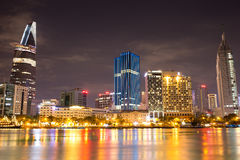 Beautiful night view of Ho Chi Minh Riverside Royalty Free Stock Photo