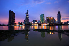 Beautiful night view of Ho Chi Minh Riverside Royalty Free Stock Image