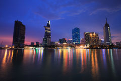 Beautiful night view of Ho Chi Minh Riverside Stock Images