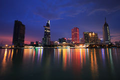 Beautiful night view of Ho Chi Minh Riverside Royalty Free Stock Photography