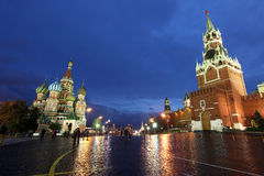 Beautiful Night View of Intercession Cathedral (St. Basil's) and Stock Image
