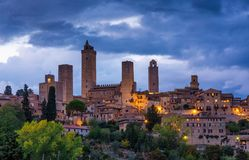 Beautiful night view of the medieval town San Gimignano. Tuscany, Italy Royalty Free Stock Photo