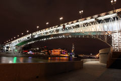 Beautiful Night View Moskva river with Patriarch Bridge in the s Royalty Free Stock Photos