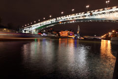 Beautiful Night View Moskva river with Patriarch Bridge in the s Stock Image