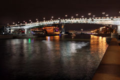 Beautiful Night View Moskva river with Patriarch Bridge in the s Stock Images