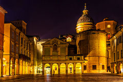 Beautiful night view of Piazza San Prospero in Reggio Emilia Royalty Free Stock Photography