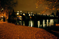 Beautiful night view of the Prague Autumn Royalty Free Stock Photography