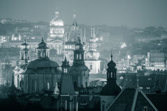 Beautiful Night View of Prague famous silhouettes Royalty Free Stock Images