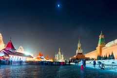 Beautiful night view of the Red Square in the center of Moscow, Stock Photo