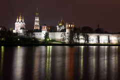 Beautiful night view of Russian orthodox churches in Novodevichy Stock Photos
