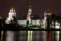 Beautiful night view of Russian orthodox churches in Novodevichy Royalty Free Stock Photos