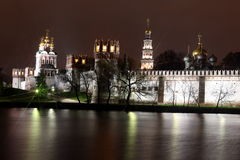 Beautiful night view of Russian orthodox churches in Novodevichy Royalty Free Stock Photography