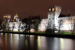 Beautiful night view of Russian orthodox churches in Novodevichy Royalty Free Stock Image