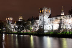 Beautiful night view of Russian orthodox churches in Novodevichy Stock Image