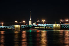 Beautiful night view of Saint-Petersburg, Russia Stock Photography