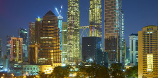 Beautiful night view of skyscraper in Kuala Lumpur Stock Images