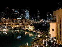 Beautiful night view of Souq Al Bahar and the Apple Store in Dubai Mall.  Stock Images