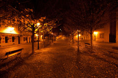 Beautiful night view of the street in Prague Royalty Free Stock Images