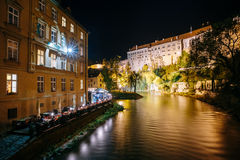 Beautiful night view to castle in Cesky Krumlov Royalty Free Stock Images