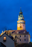 Beautiful night view to castle tower in Cesky Krumlov, Czech rep. Ublic. UNESCO World Heritage Site Stock Images