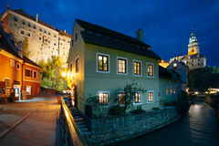 Beautiful night view to castle tower in Cesky Stock Photography
