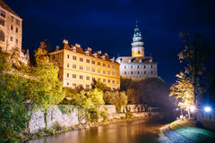 Beautiful night view to castle tower in Cesky Stock Photo