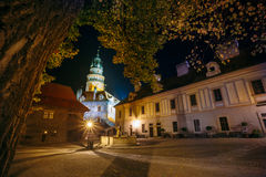 Beautiful night view to castle tower in Cesky Stock Image