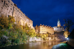 Beautiful night view to castle tower in Cesky Stock Photos