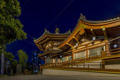 Night view of the Shinobazunoike Bentendo Temple, Ueno Park, Tokyo, Japan royalty free stock image