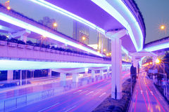 The beautiful night view of viaduct road in Shanghai. Elevated highway in the beautiful night view of Shanghai Royalty Free Stock Photo