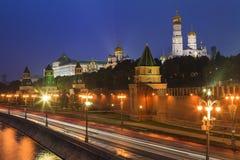 Beautiful night views of Moscow Kremlin. Stock Photos