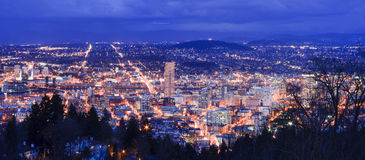 Beautiful Night Vista of Portland, Oregon Royalty Free Stock Photos