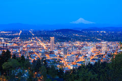 Beautiful Night Vista of Portland, Oregon Stock Photography