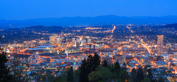 Beautiful Night Vista of Portland, Oregon Stock Images