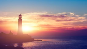 Beautiful nightly seascape with lighthouse stock footage