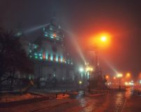 Beautiful nightscape of Bernardine church and monastery in historical city center at foggy night, Lviv, Ukraine. Beautiful nightscape of Bernardine church royalty free stock photography