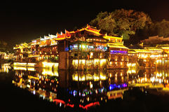 Beautiful nightscape of fenghuang ancient town Royalty Free Stock Image