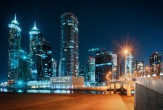 Beautiful nighttime Dubai skyline. Modern skyscrapers of business bay. Royalty Free Stock Photos