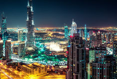 Beautiful nighttime Dubai skyline with modern skyscrapers. Stock Photography