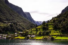 Beautiful nordic landscape with spectacular norwegian fjord - long, narrow inlet with steep sides or cliffs, created by a glacier. Image with copy space royalty free stock images