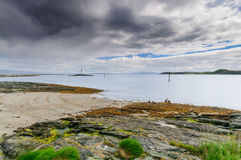 Beautiful northern landscape coastline of Munkholmen, Trondheim, Norway royalty free stock image