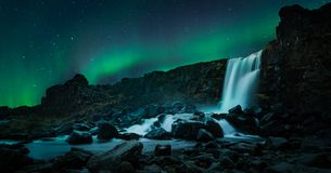 Beautiful Northern light Waterfall Oxarafoss in southern Iceland royalty free stock photos