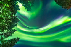 Beautiful Northern lights over head Stock Photo