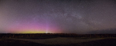 Beautiful Northern Lights Panorama Stock Photo