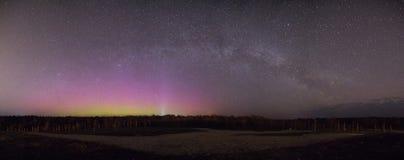 Beautiful Northern Lights Panorama stock photo