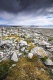 Beautiful northern rock stone landscape coastline of Munkholmen, Trondheim, Norway royalty free stock image
