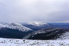 Northern snowy winter mountain landscape stock photo