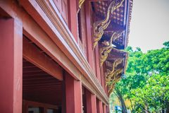 Beautiful northern thai style house pattern of teak wood craving. On balcony baluster. Antique balcony banister with retro style Stock Photography