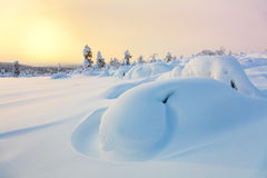Beautiful Northern winter landscape - sunset, Royalty Free Stock Images