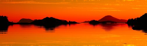 Norway sunset seascape. Beautiful Norway sunset seascape panoramic view Royalty Free Stock Image